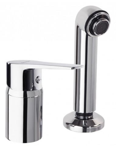 Grifo lavabo peluquería con equipo de ducha 182201 titanium ramon soler